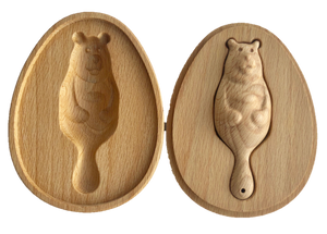 Organic Wooden Rattle toy Bear in a Wooden Box - poppybaby
