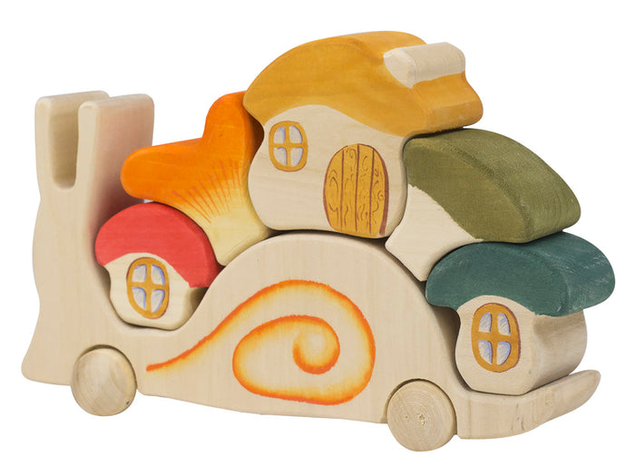 Wooden Waldorf toy Snail puzzle