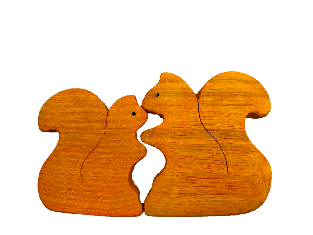 Wooden Squirrel set of 2 puzzle