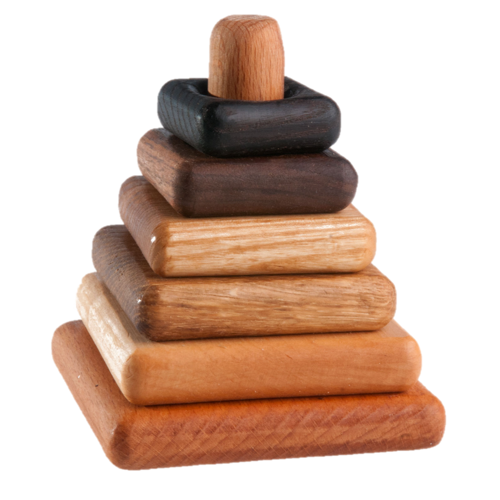 Wooden stacking toy in square shape from 6 types of wood - poppybaby