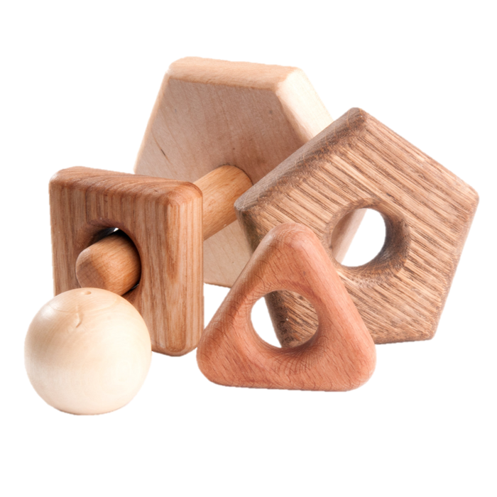 Wooden stacking toy in different shapes from 5 types of wood - PoppyBabyCo