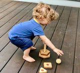 Wooden stacking toy in different shapes from 5 types of wood, large - PoppyBabyCo