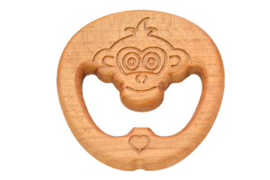 Organic Wooden Teether toy Monkey - PoppyBabyCo