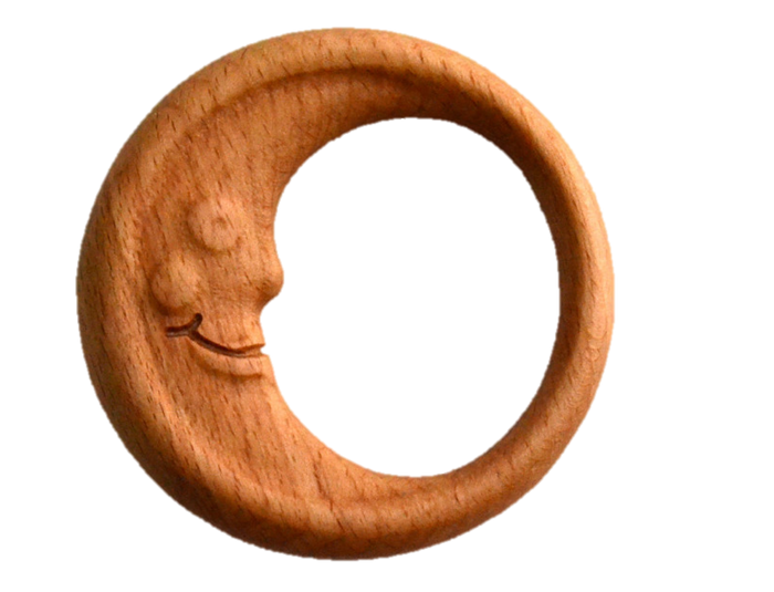 Organic Wooden Rattle-Teether toy Moon in a wooden box - PoppyBabyCo