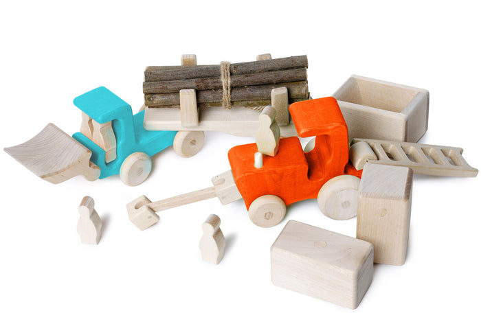 Magnetic Wooden Tractor & Truck set with magnetic accessories