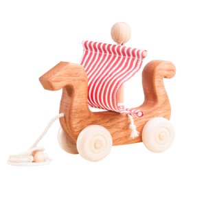 Ancient Ship Pull along wood toy - poppybaby