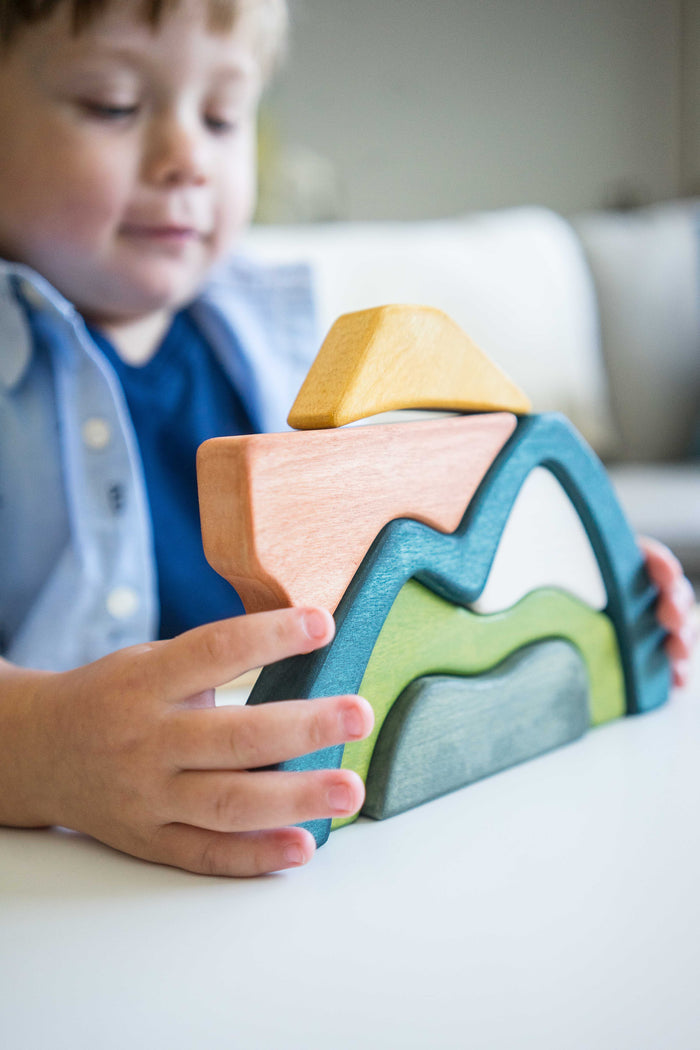 Wooden Sculptural Mountains Blocks Stacker Puzzle - PoppyBabyCo