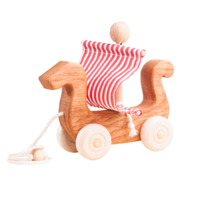 Ancient Ship Pull along wood toy - PoppyBabyCo