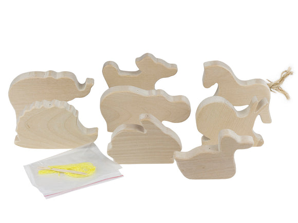 Wooden Animals Cutouts 8pcs