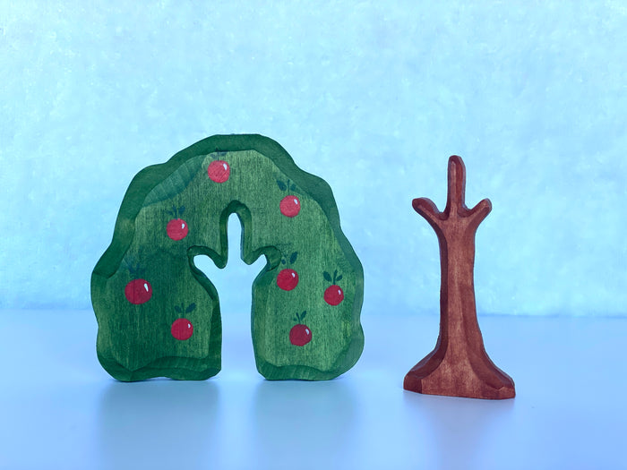Wooden Hand Carved Apple Tree Toy