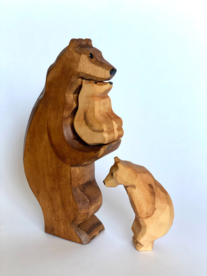 Wooden Brown Bear with Cubs
