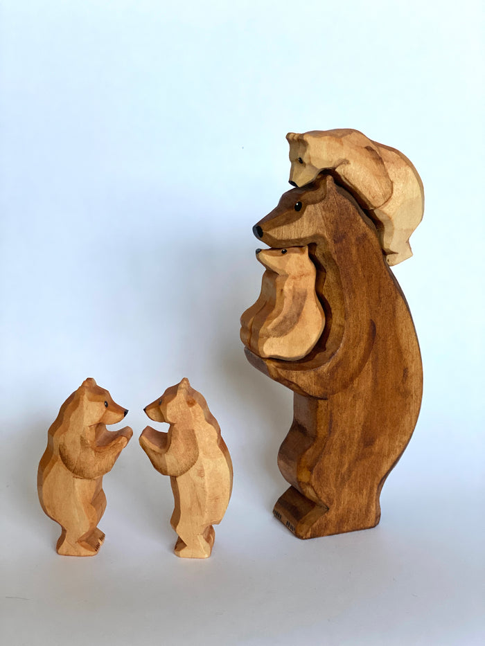 Hand-Carved Wooden Cubs Figurines set of 2
