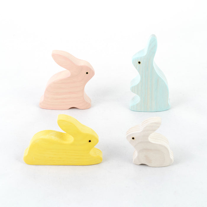 Waldorf toys Bunny Rabbits family Set of 4, rabbits figurines