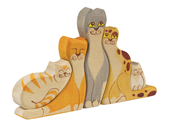 Wooden Cat figurines set of 5