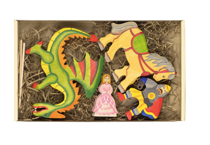 Wooden Princess and the Dragon Fairytale Set