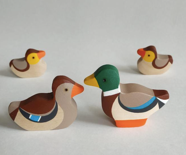 Handmade Wooden Ducks Figurines set of 4