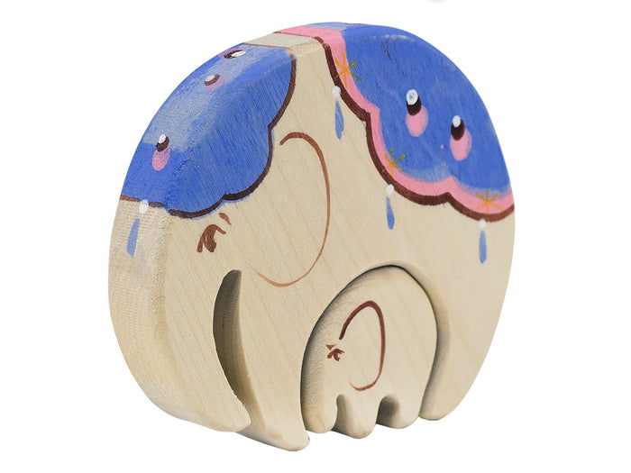 Wooden mama elephant with baby puzzle