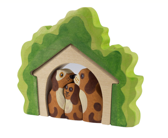 Wooden Dog house with Dogs figurines