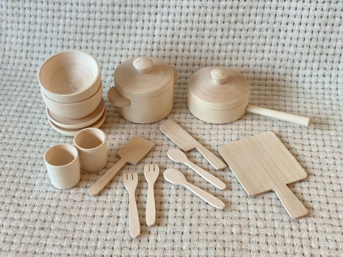 Unfinished Wooden Pots and Pans Playset