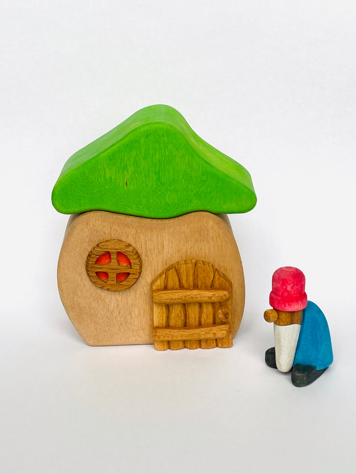 Wooden House with Gnome