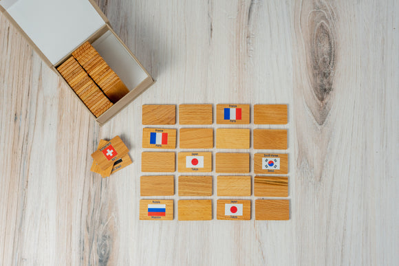 Wooden Memory Matching Game, Flags and Capitals of the World