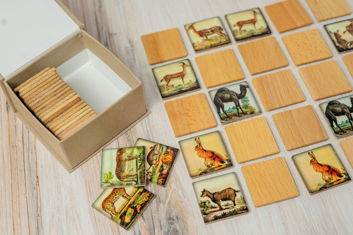 Wooden Memory Matching Game in a Box, Zoo Animals