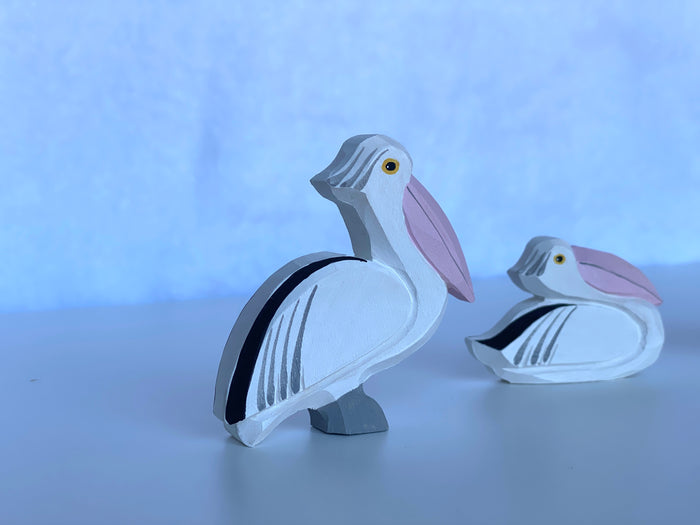 Hand Carved Wooden Pelican Toy set of 3
