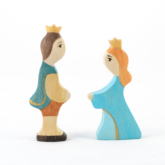 Waldorf Wooden Prince and Princess Figures- 2 pieces