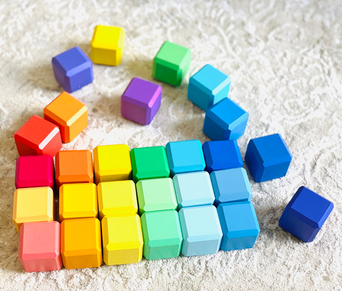 Colorful Wooden Blocks 28pcs in linen bag