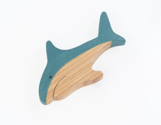 Handmade wooden shark figurine