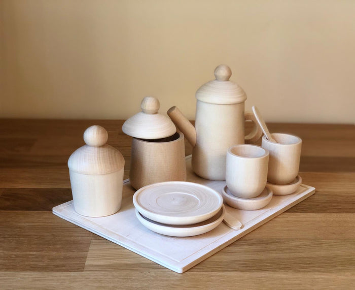 Wooden Tea set play with Cupcake