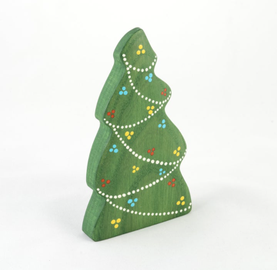 Handmade wooden Christmas toy tree with garland