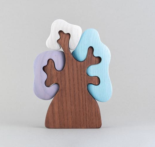 Wooden Winter tree with three crowns