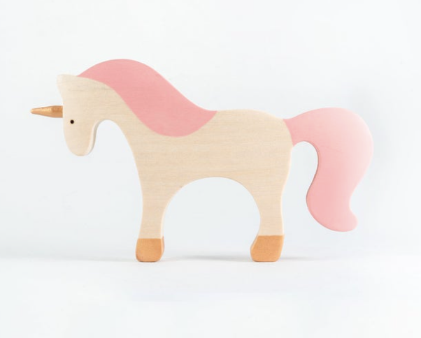 Waldorf large wooden Unicorn toy