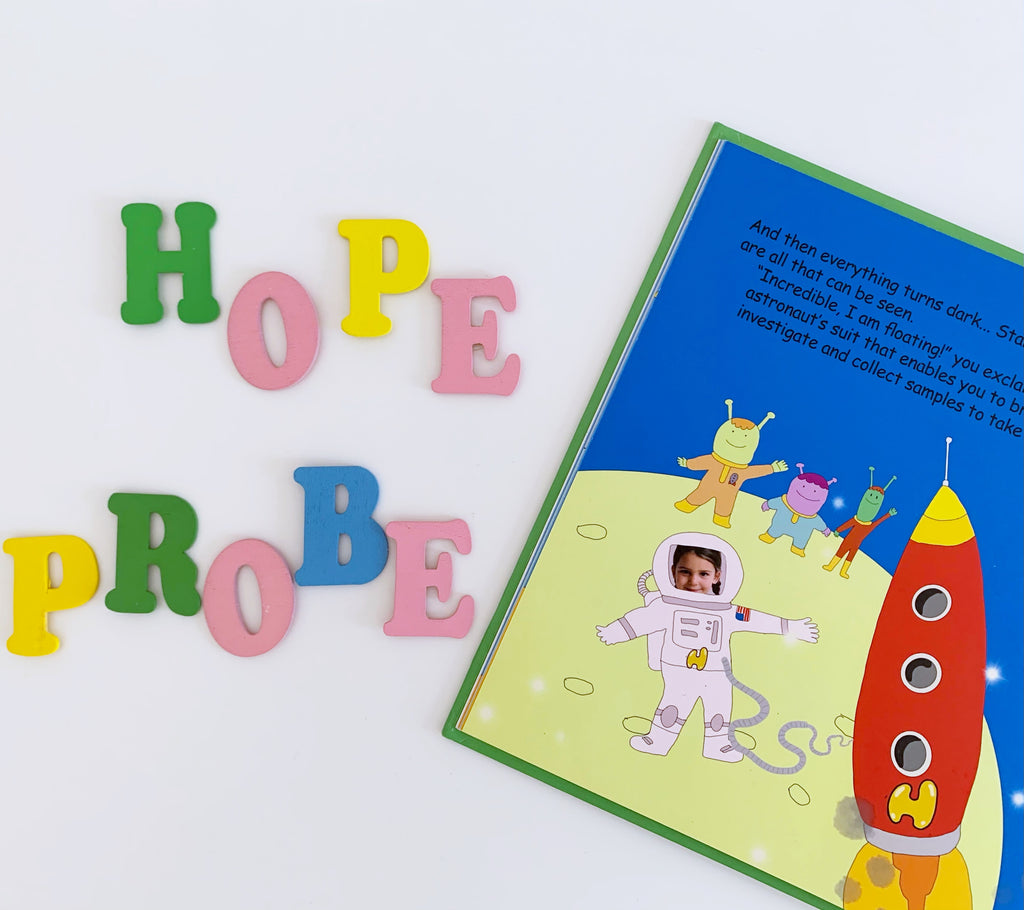 personalised children's books, I'm a Hero at work,  become an astronaut, hope probe mission.