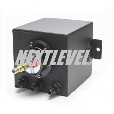 FUEL SURGE TANK 2L SINGLE SUBMERSIBLE 044 STYLE DURA BLACK FINISH 3 X -6AN ORB PORTS