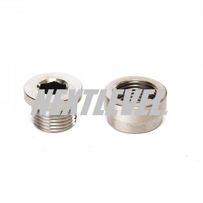 STAINLESS STEEL O2 PORT WELD-ON WITH HEX PLUG M18X1.5