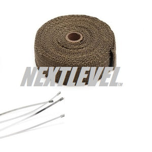 TiLAVA EXHAUST WRAP (980*C) 51MM X 10M WITH 4X STAINLESS STEEL PULL LOCK TIES 5MM X 300MM LONG