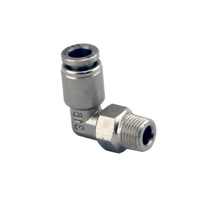 "1/8"" NPT 90º PUSHLOC FITTING - SS - 6MM"