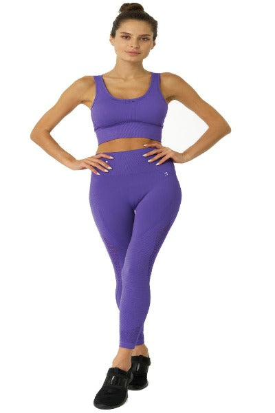 Purple Mesh Seamless Sports Bra - TWUMBAAH