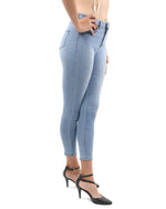 Light Blue High Waisted Skinny Jeans - TWUMBAAH
