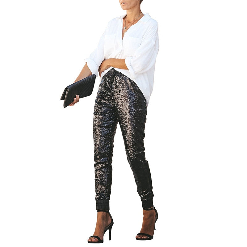 Sequin Leather High Waist Trouser - TWUMBAAH
