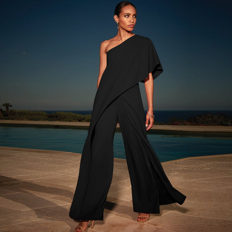 One Shoulder Ruffle Jumpsuit - TWUMBAAH