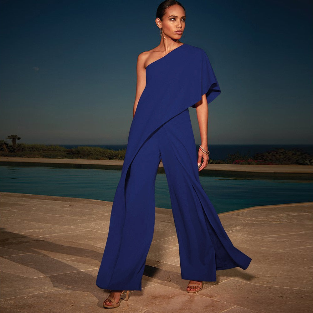 One Shoulder Ruffle Jumpsuit - Fashion Serving Christ Boutique