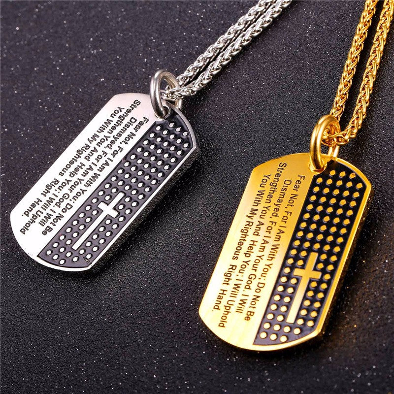 Cross Scripture Dog Tag - Fashion Serving Christ Boutique