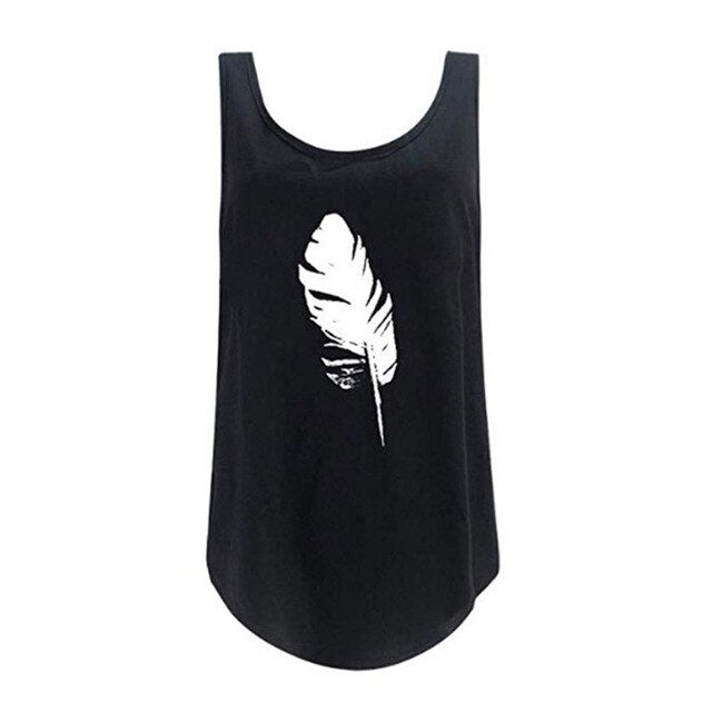 Sleeveless Feather Tank - Fashion Serving Christ Boutique