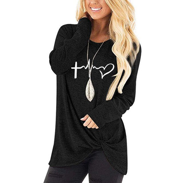 Cross Heartbeat Shirt - Fashion Serving Christ Boutique