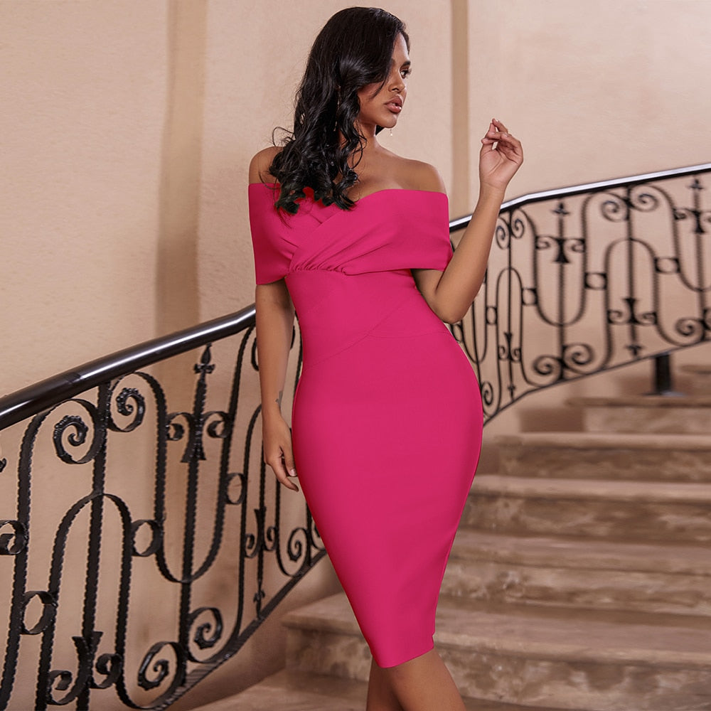 Pink Fitted Rayon Dress - TWUMBAAH