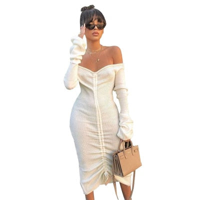 Off Shoulder Bandage Dress - TWUMBAAH