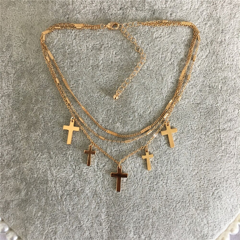 Cross Charm Layered Necklace